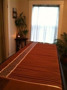 Massage table BioMat in my treatment room.