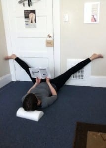 legs on wall to stretch adductors
