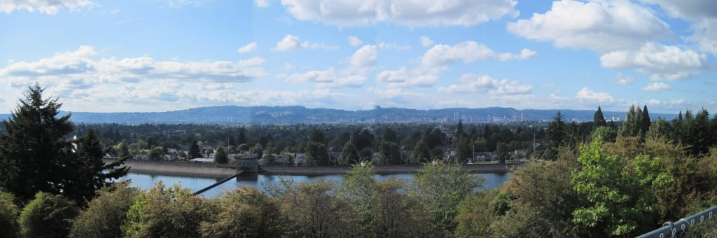 View of Portland from the top of Mt Tabor.