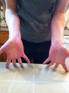 Hand stretch to regain hand muscle length and in crease circulation.